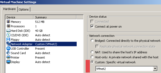 VMware Player Networking Options